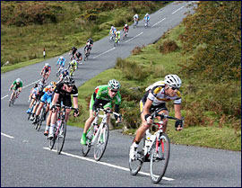 Riders descending fast on the road to Moretonhampstead.